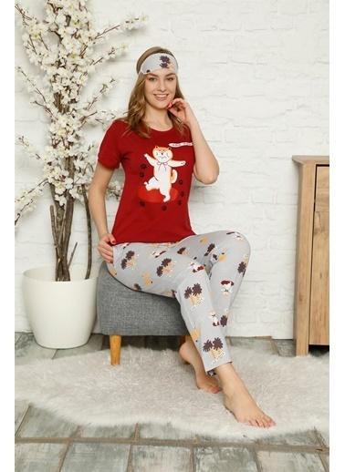 Akbeniz Kadın %100 Pamuk Penye Kısa Kol Pijama Takım 3330 Bordo
